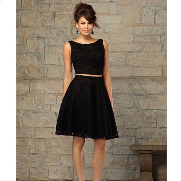 Mori Lee Black Lace 2 Piece Formal Dress
